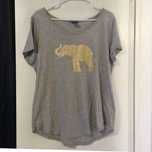 Ann Taylor TShirt- Gold Elephant Design
